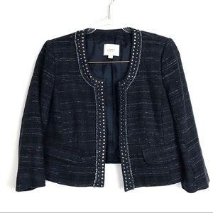 Ann Taylor Loft Tweed Open Front Blazer size 6